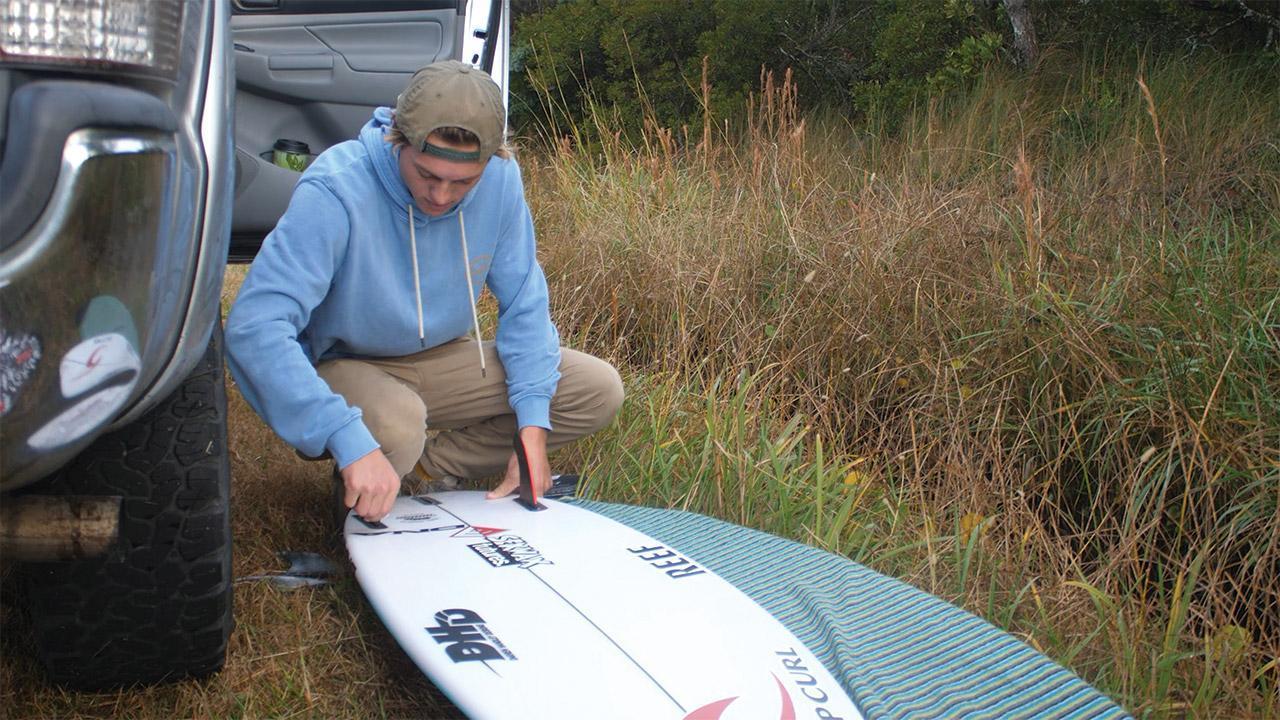 Luke prepping his board