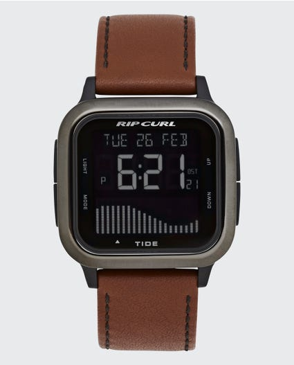 Next Tide Surf Leather Watch in Gunmetal Grey
