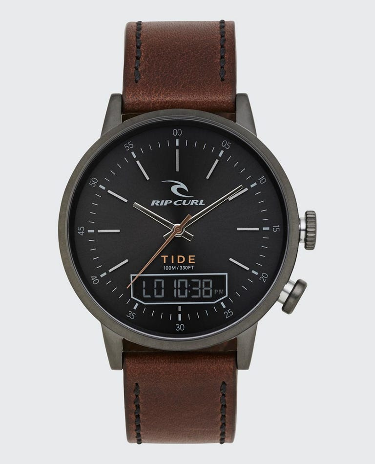 Drake Tide Digital Leather Watch in Gunmetal