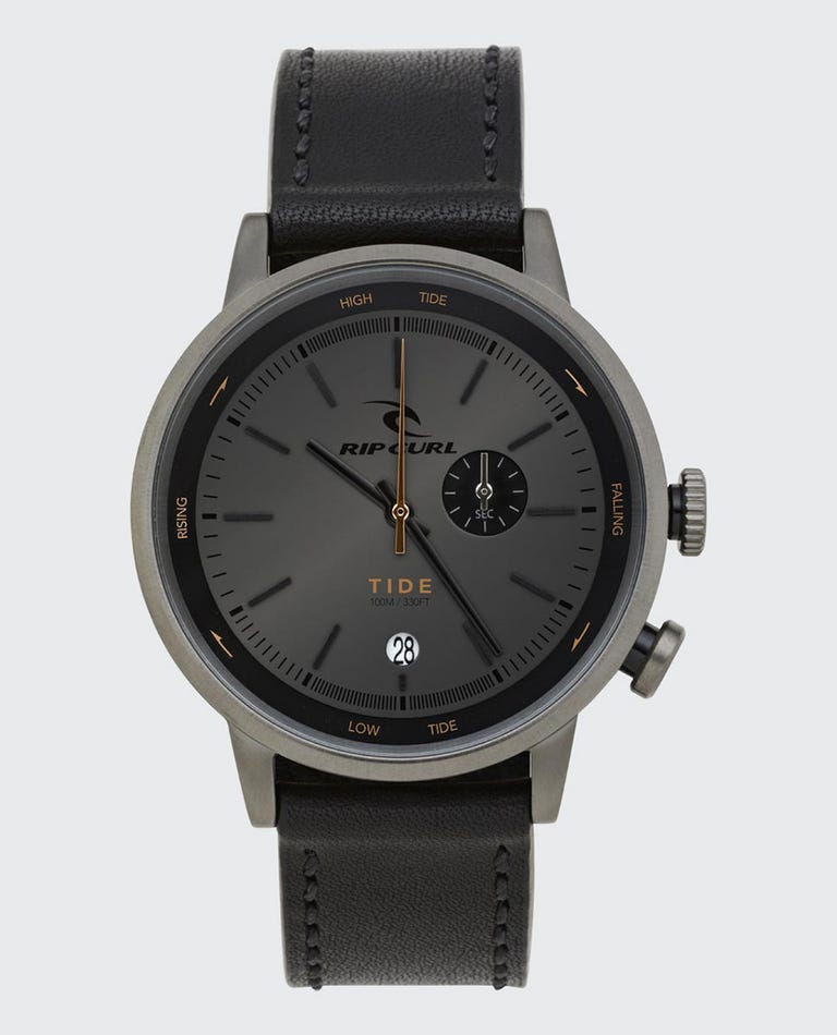 Drake Tide Dial Leather Watch in Black
