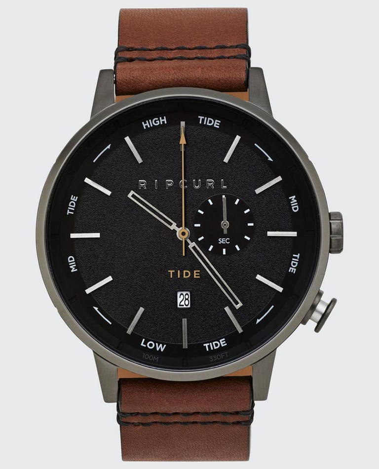 Detroit Analogue Leather Tide Watch in Gunmetal