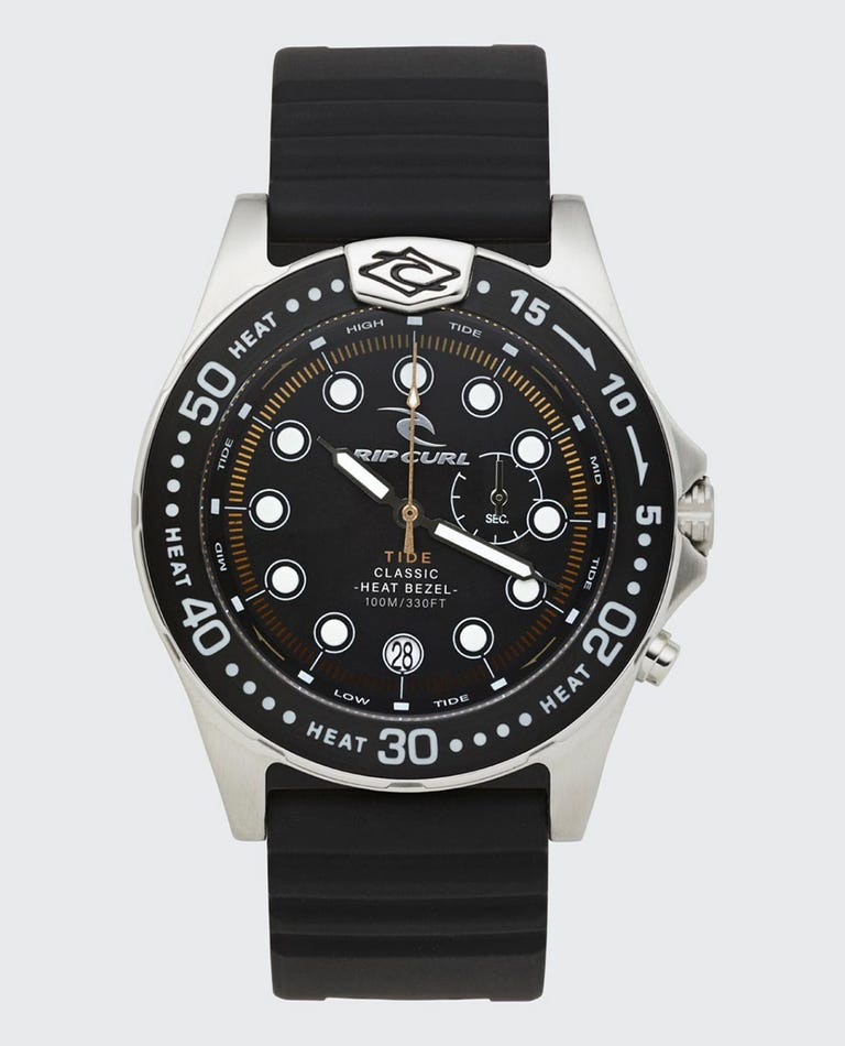 Heritage Collection - Classic Heat Bezel Tide PU Surf Watch in Black