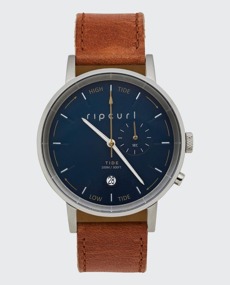 Circa Tide Dial Leather Watch in Navy