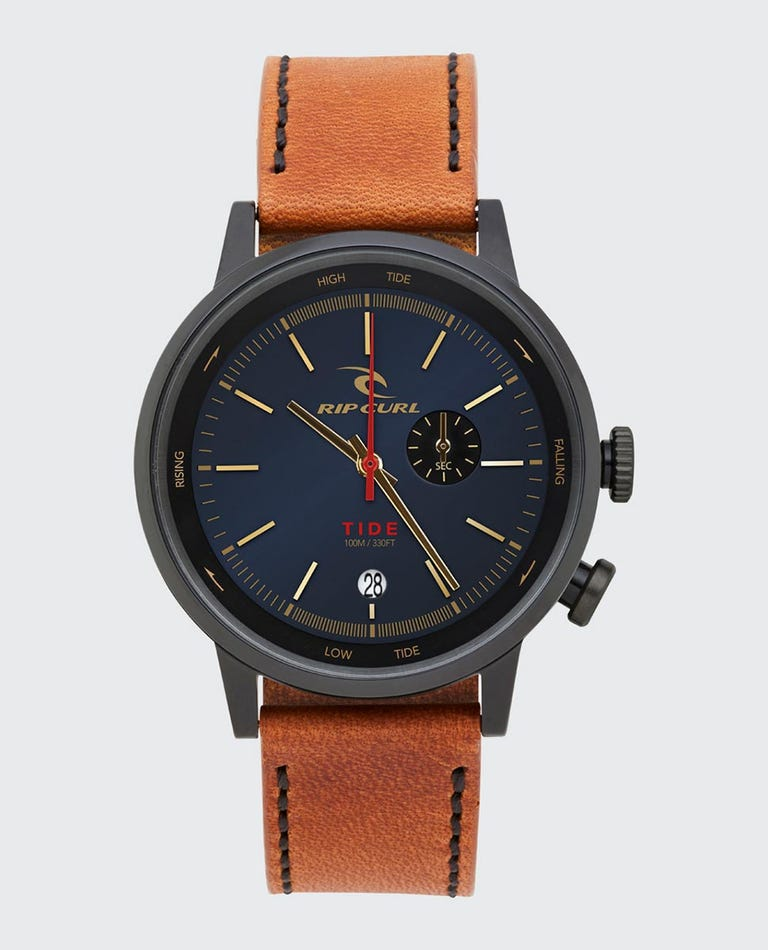 Drake Tide Dial Leather Watch in Midnight