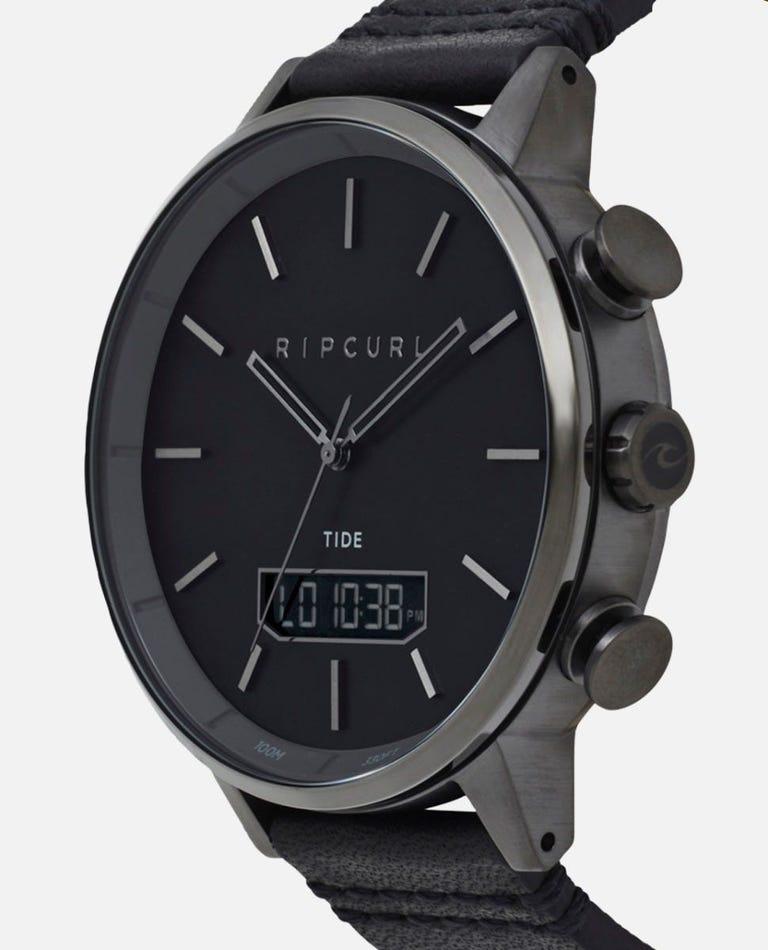 Detroit Digital Tide Leather Watch in Gunmetal