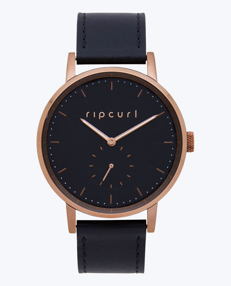 Circa Bronze Leather Watch in Black