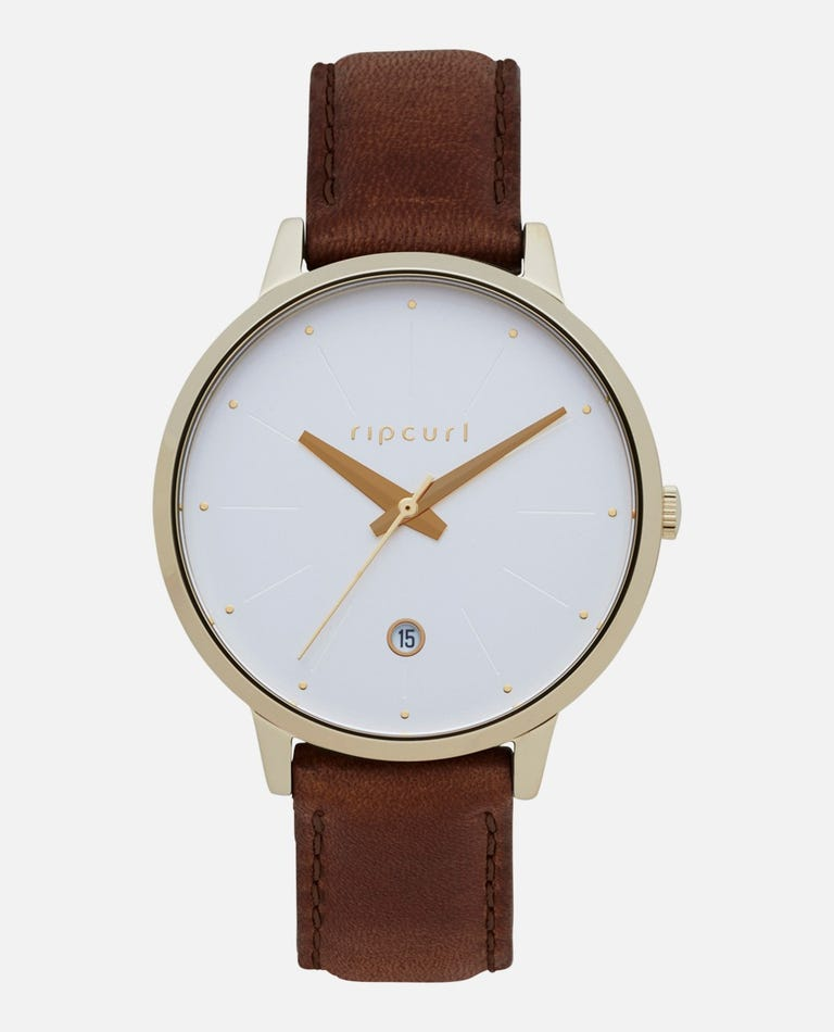 Lola Slim Gold Leather Watch in Brown