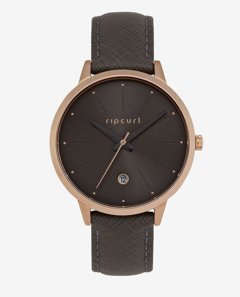 Lola Slim Rose Gold Leather Watch in Taupe