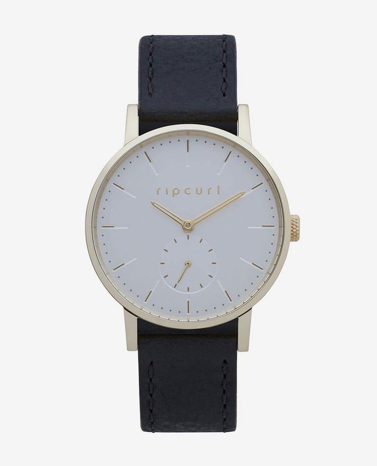 Circa Mini Gold Leather Watch in Black