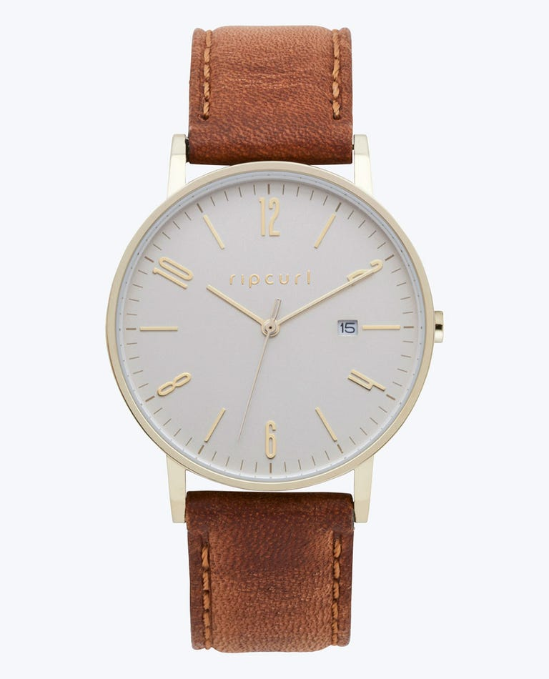 Latch Gold Leather Watch in Gold