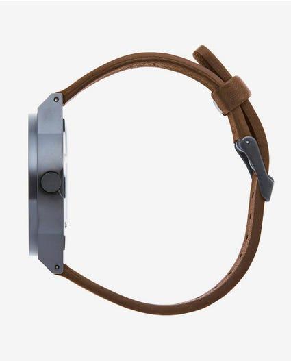 Sheer Gunmetal Leather Watch in Dark Shadow