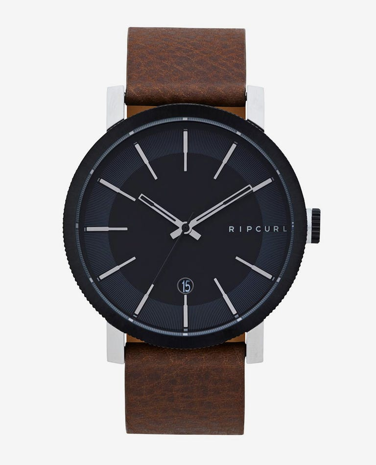Beacon Black Leather Watch in Brown