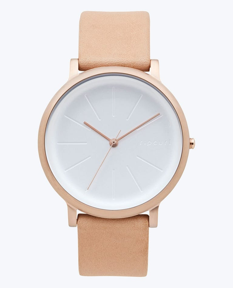 Flow Gold Leather Watch in Rose Gold