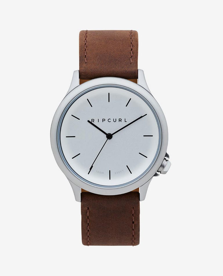 Current Leather Watch in Silver