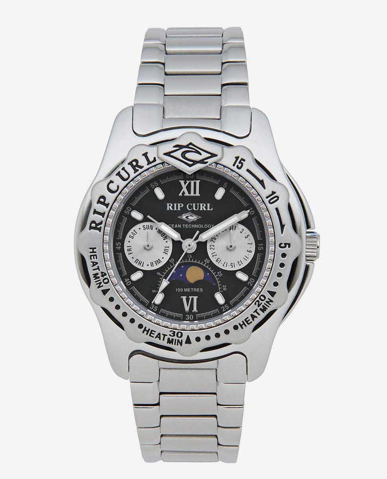 Heritage Collection - Large Moonphase Heat Bezel SSS Watch in Black