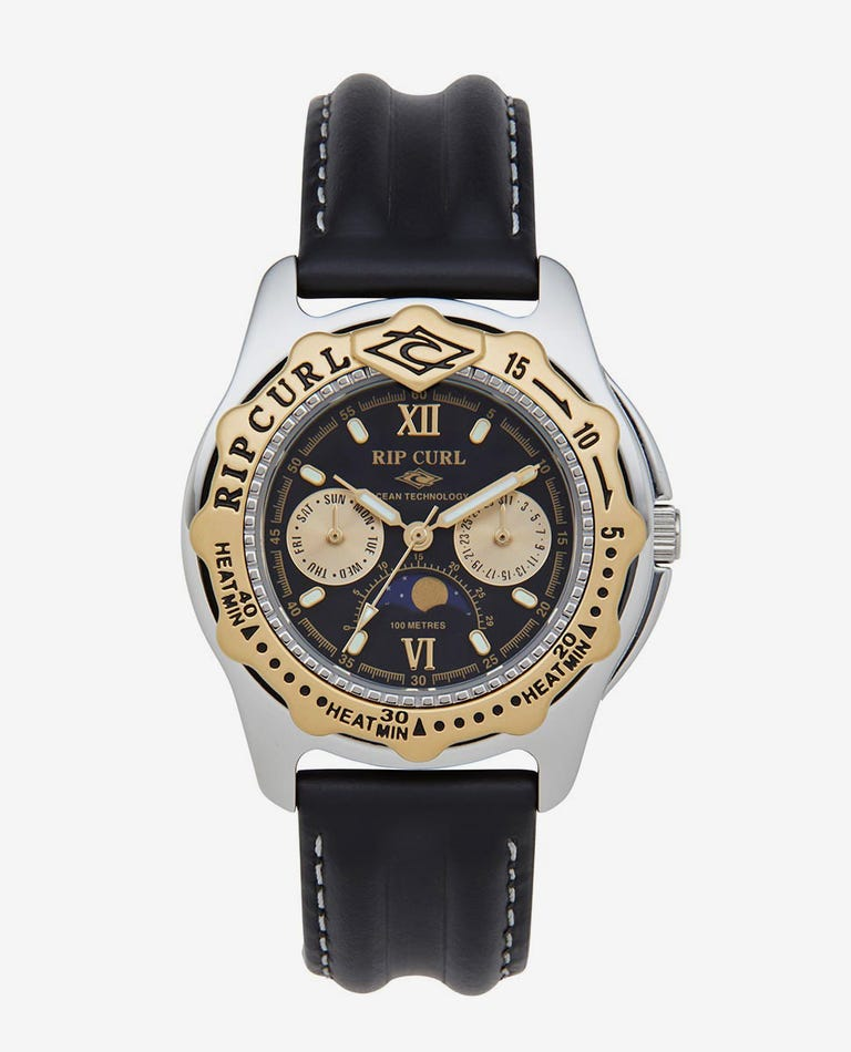 Heritage Collection - Large Moonphase Heat Bezel Leather Watch in Black