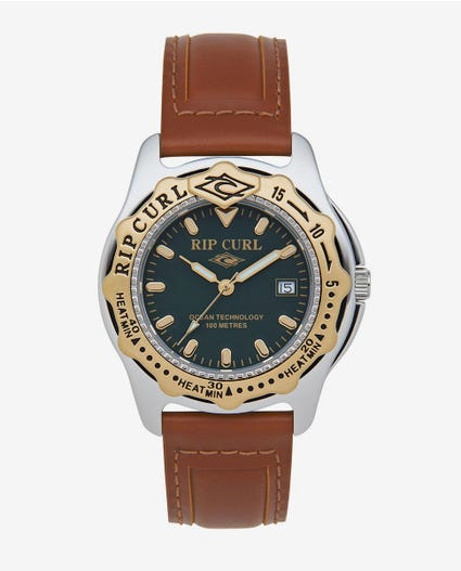 Heritage Collection - Large Heat Bezel Leather Watch in Gold