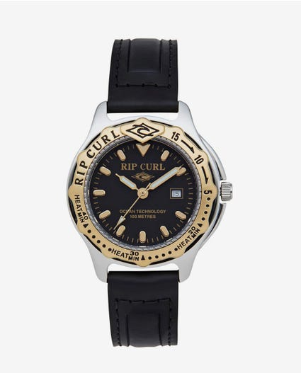 Heritage Collection - Midsize Heat Bezel Leather Watch in Black