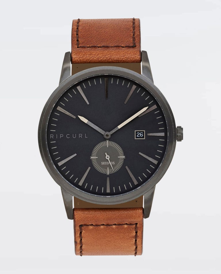 Vision Gunmetal Leather Watch in Gunmetal