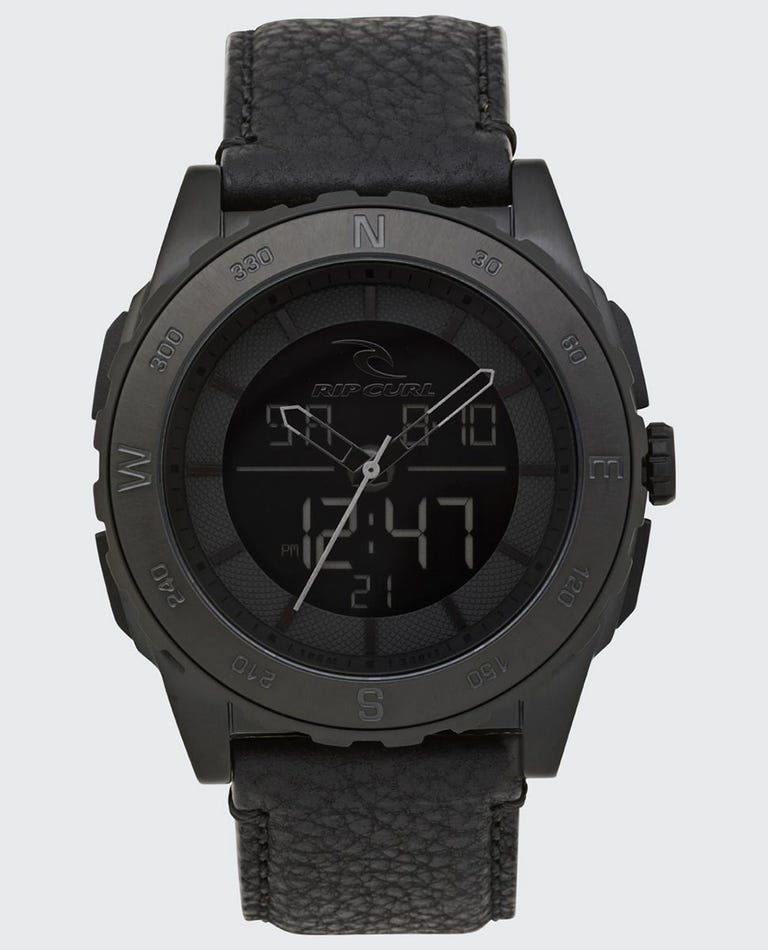 Rival Ana-Digital Leather Watch in Blackout