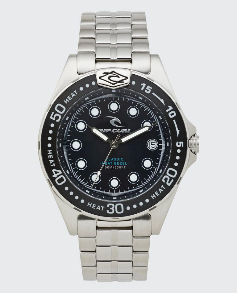 Classic Heat Bezel Stainless Steel Surf Watch in Navy