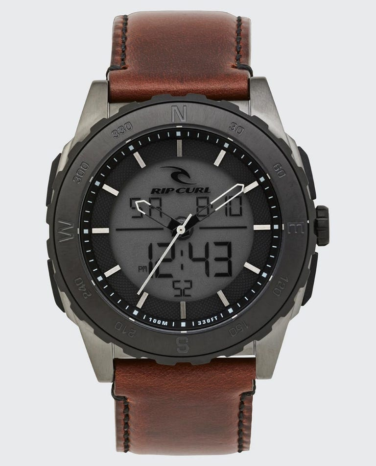Rival Ana-Digital Leather Watch in Gunmetal