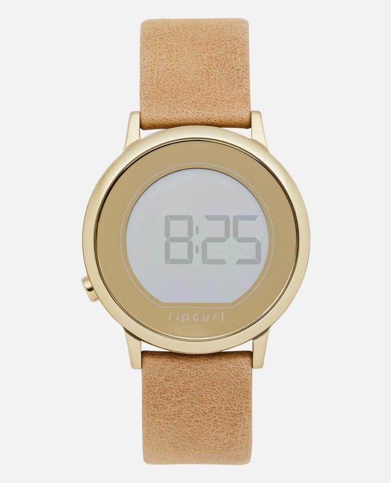 Daybreak Digital Gold Leather Watch in Gold