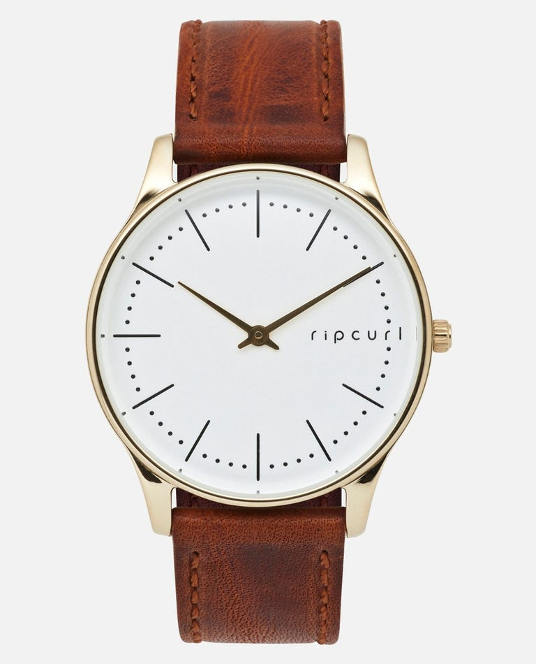 Supreme Slim Gold Leather Watch in Gold