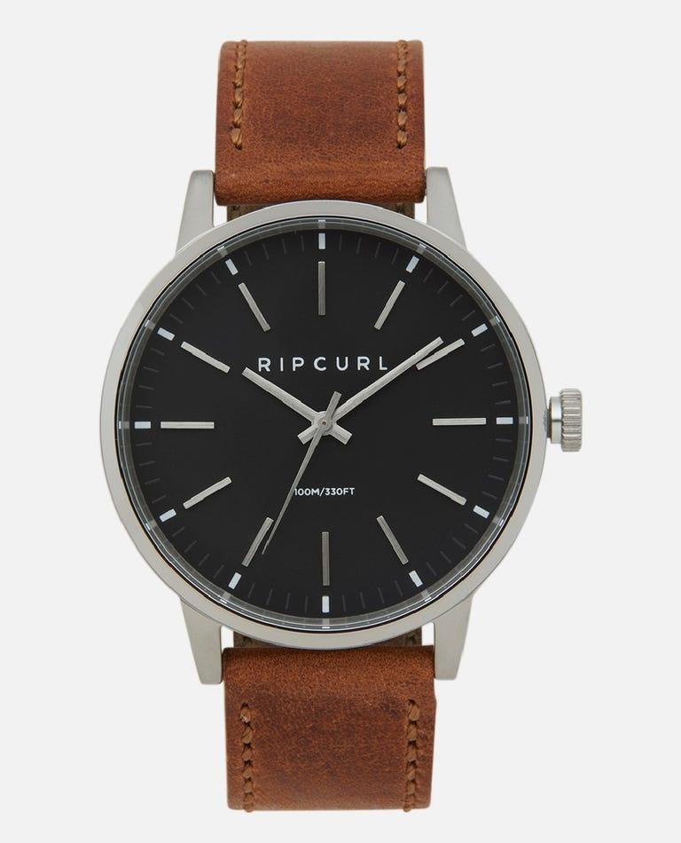 Drake Leather Black Watch in Black