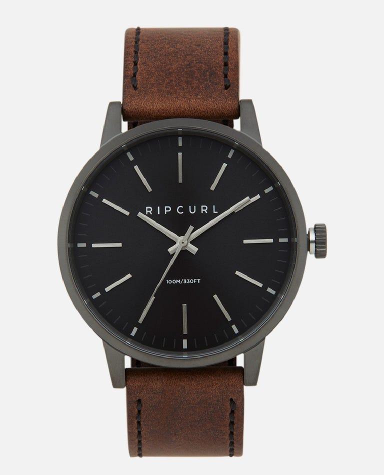 Drake Gunmetal Leather Watch in Gunmetal