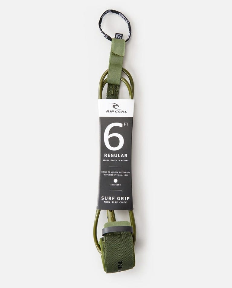 6'0 Surf Grip Comp Leash  in Olive