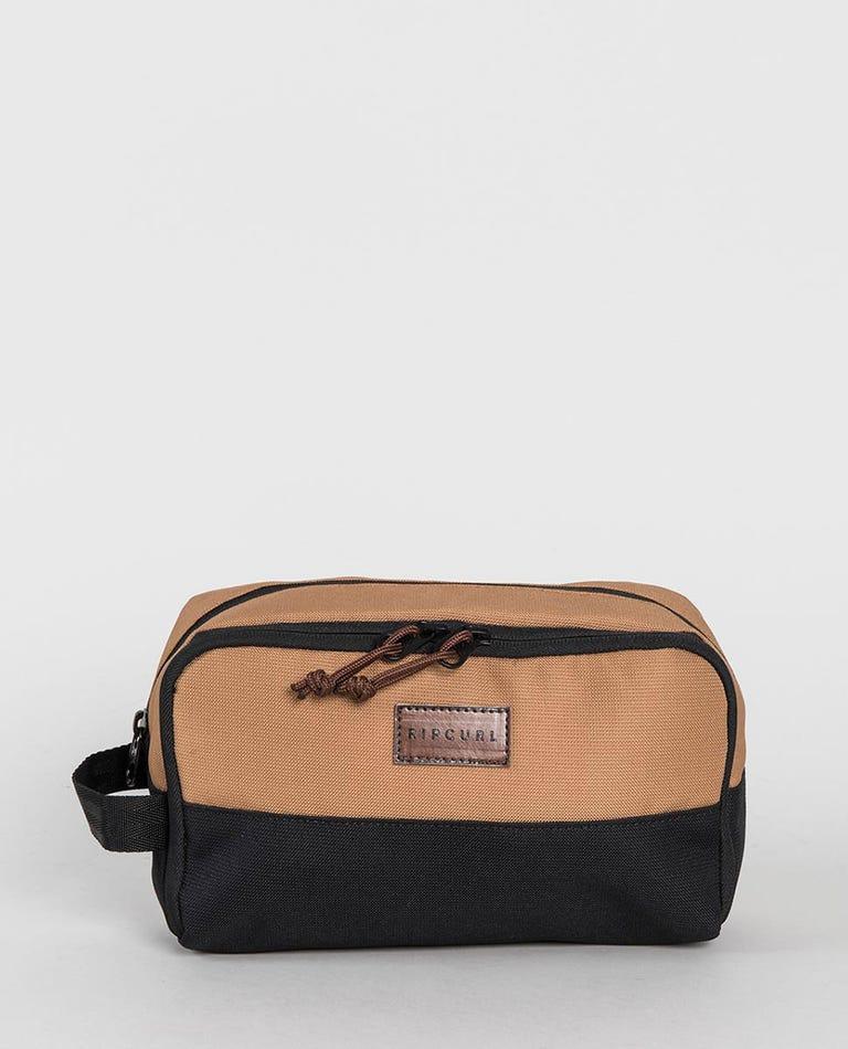 Groom Combined Toiletry Bag in Black/Tan