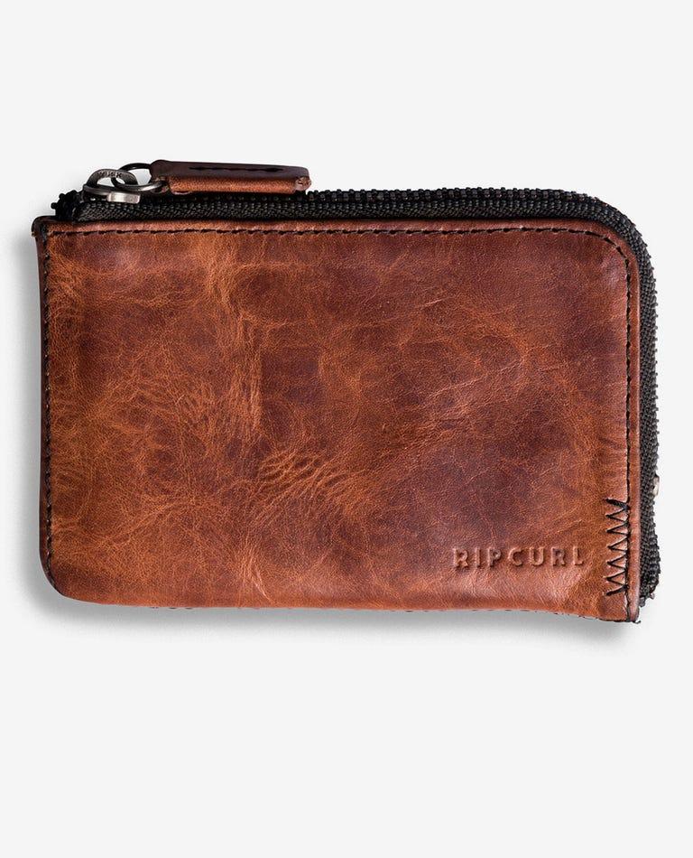 Handcrafted Zip Slim Leather Wallet in Brown