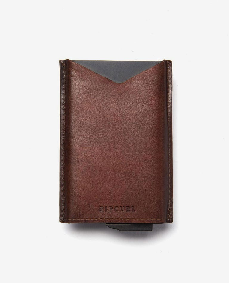 Mechanical RFID Slim Wallet in Brown