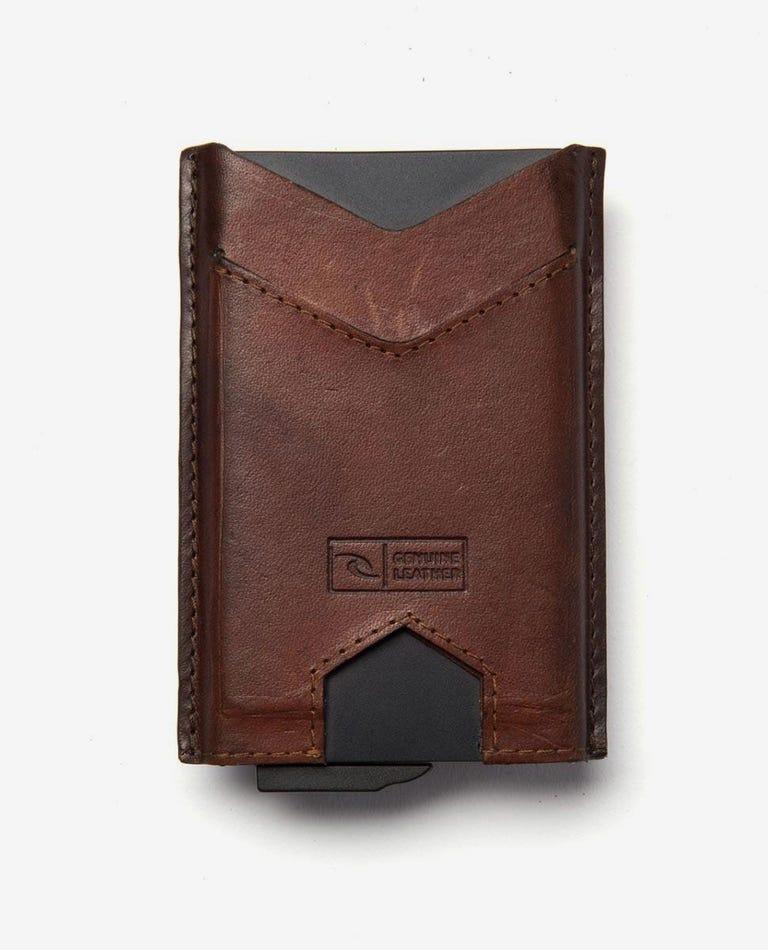 Mechanical RFID Slim Wallet in Brown