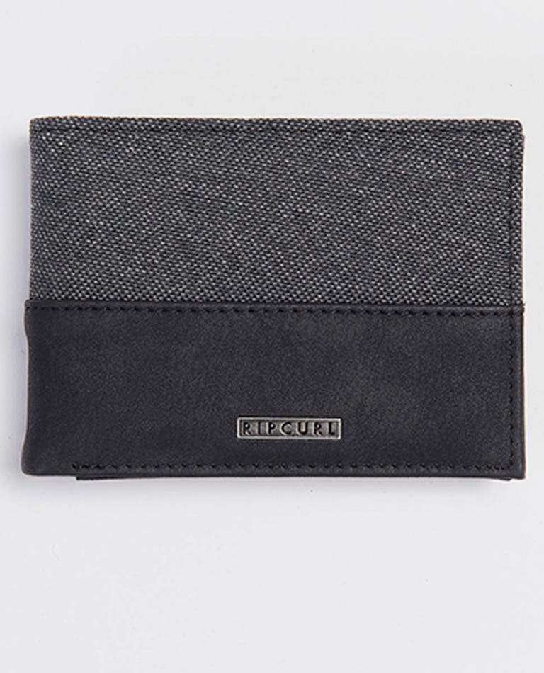 Split PU Slim Wallet in Black
