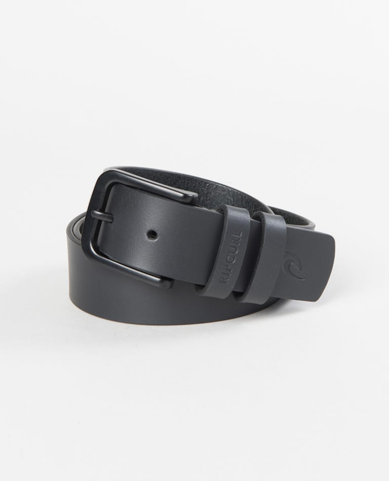 Cut Down Leather Belt in Black