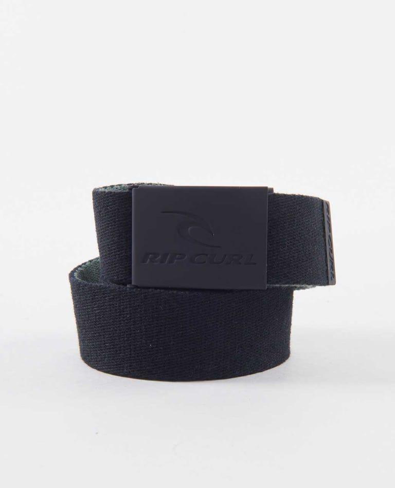 Snap Reversible Webbed Belt in Black/Olive