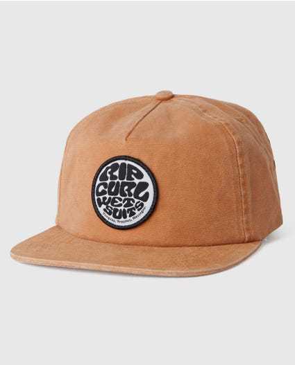 Washed Wetty Snapback Cap in Brown