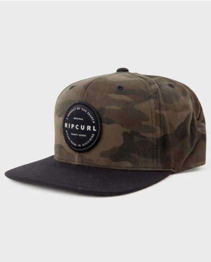 Mission Badge Snapback Cap in Black