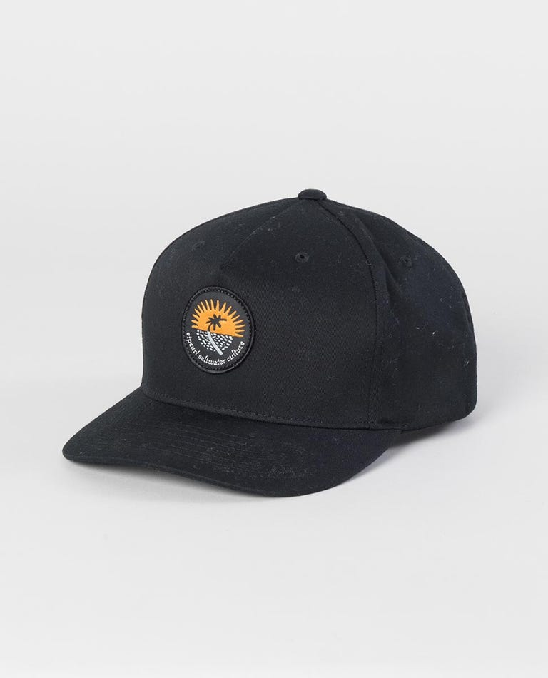 Distant Snapback Cap in Black