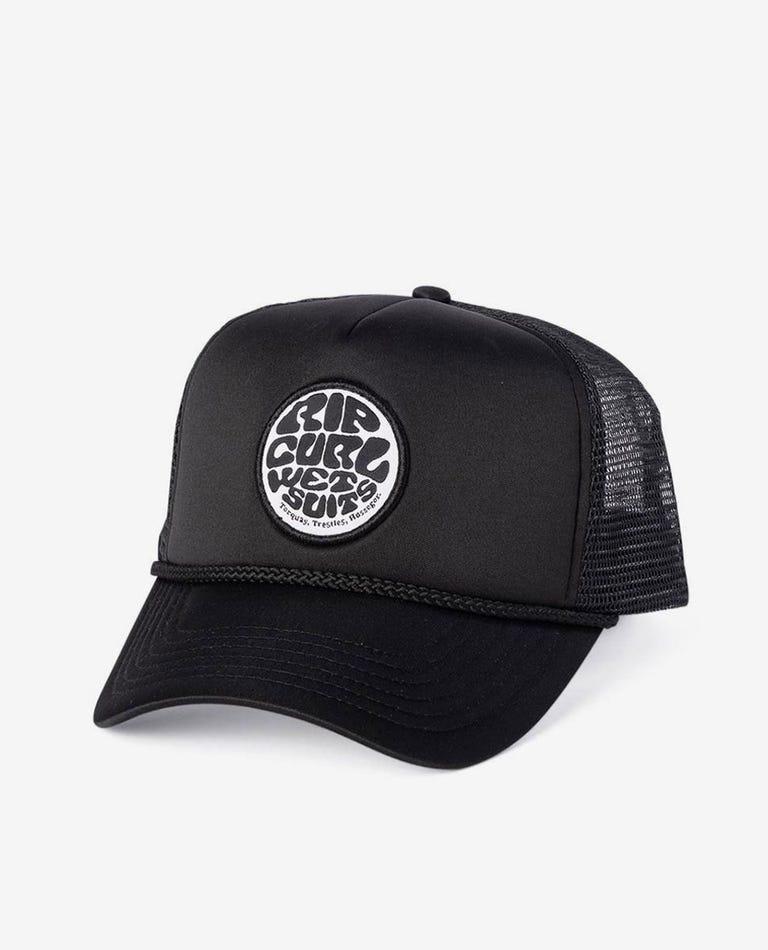 Wetty Badge Trucker Cap in Black