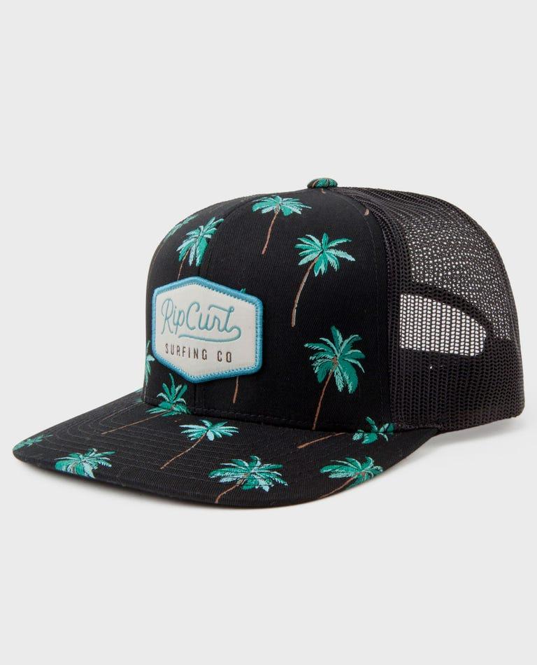 Palm Cruise Trucker Hat in Black
