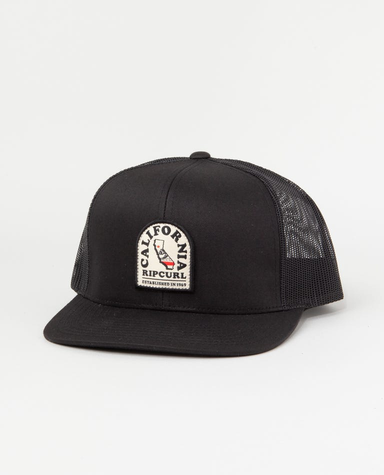 Destination Patch Trucker Hat in Black