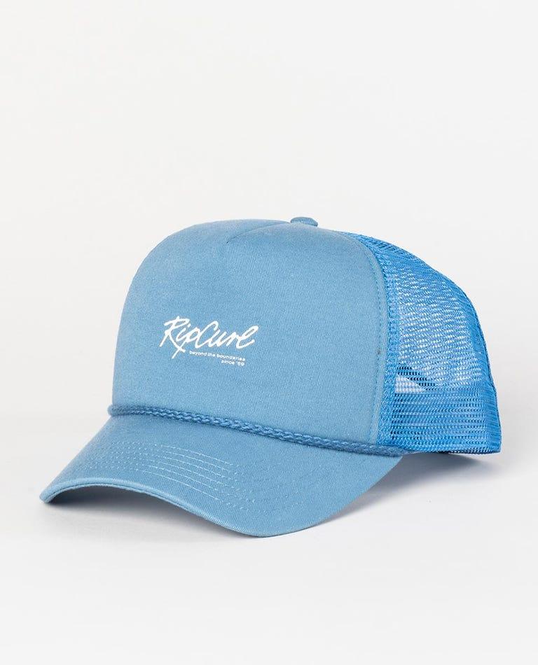 Script XL Trucker Hat in Dusty Blue