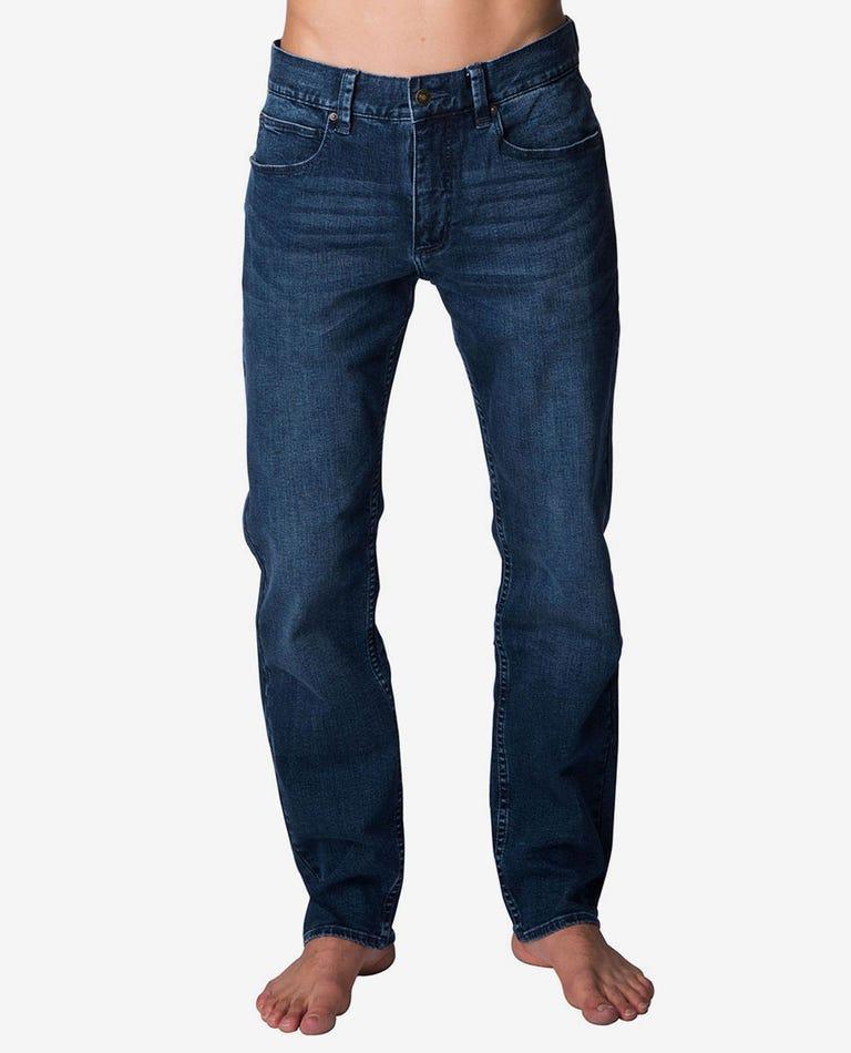 Straight Tidal Blue Denim Jeans in Tidal Blue