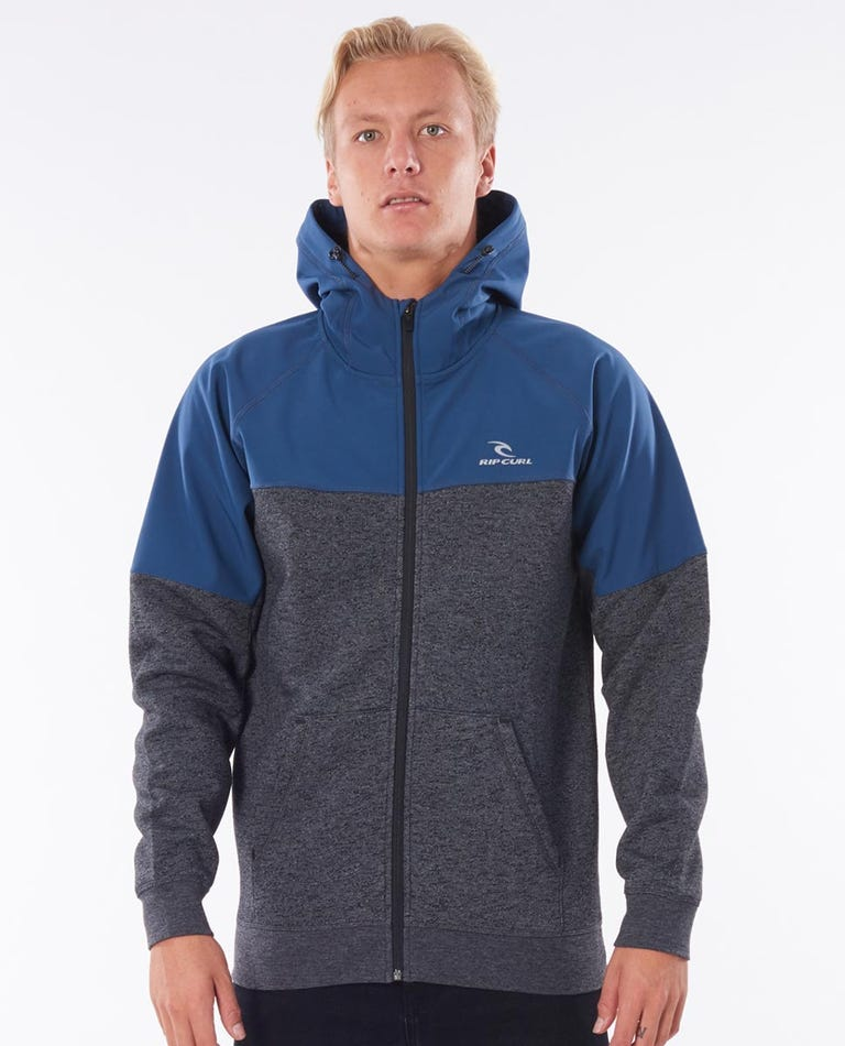 Viral Anti-Series Zip Through Hooded Jumper in Slate Blue