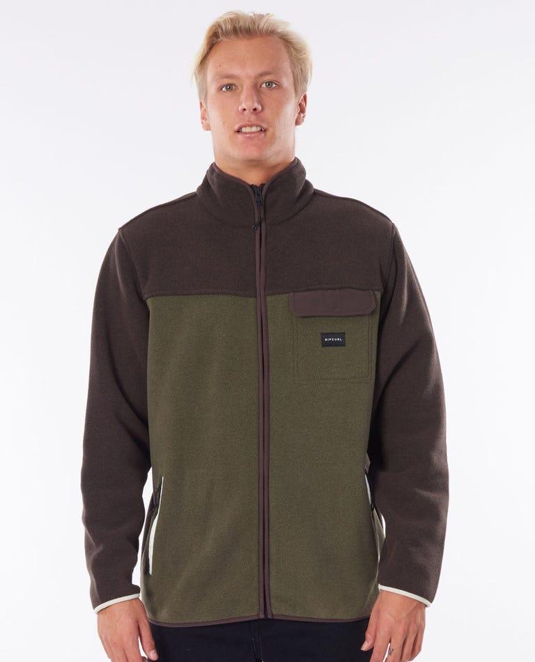 Mammoth Polar Fleece Zip Through Hood in Brown