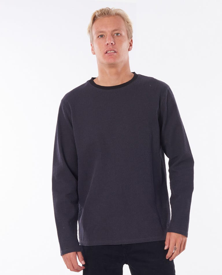 Searchers Waffle Crew Jumper in Washed Black