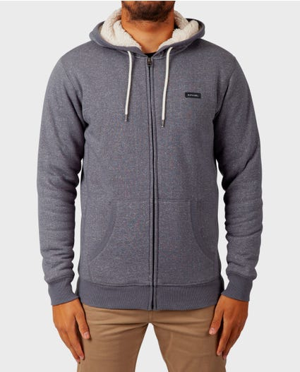 Core Zip Up Sherpa Hooded Fleece in Grey